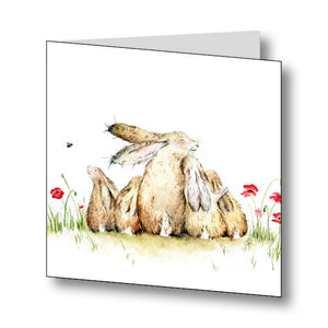 Our Family Rabbit/Hare Greetings Card With Beautiful Poem