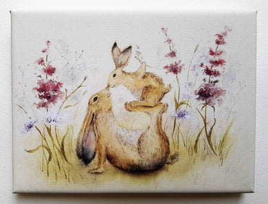 Precious One Mother & Baby Rabbit Mini Canvas - 1 left