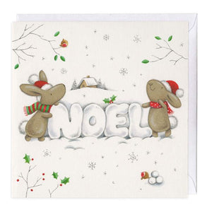 Snow Noel Bunny Christmas card