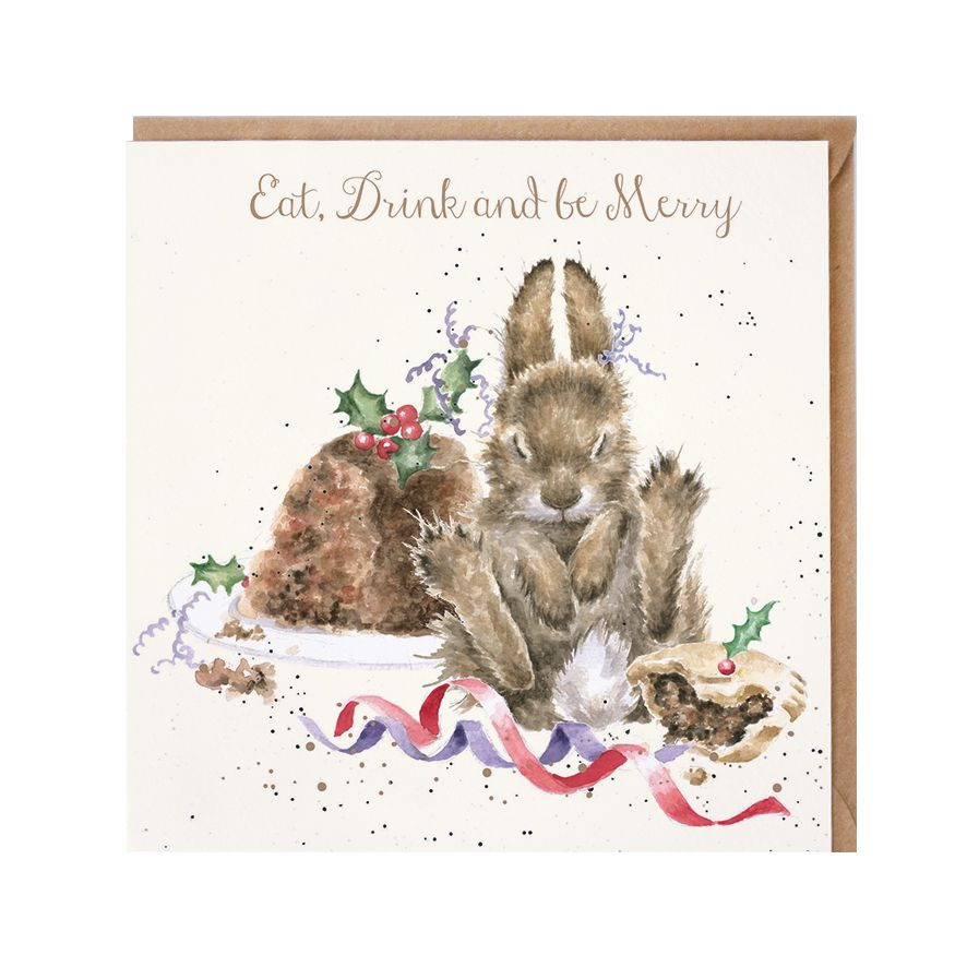 Wrendale Designs  Eat, Drink and be Merry Bunny Rabbit Christmas Card