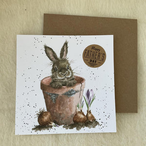 Wrendale Designs Flower Pot Father's Day Bunny Rabbit Card