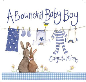 Alex Clark Bouncing Baby Boy Bunny Card