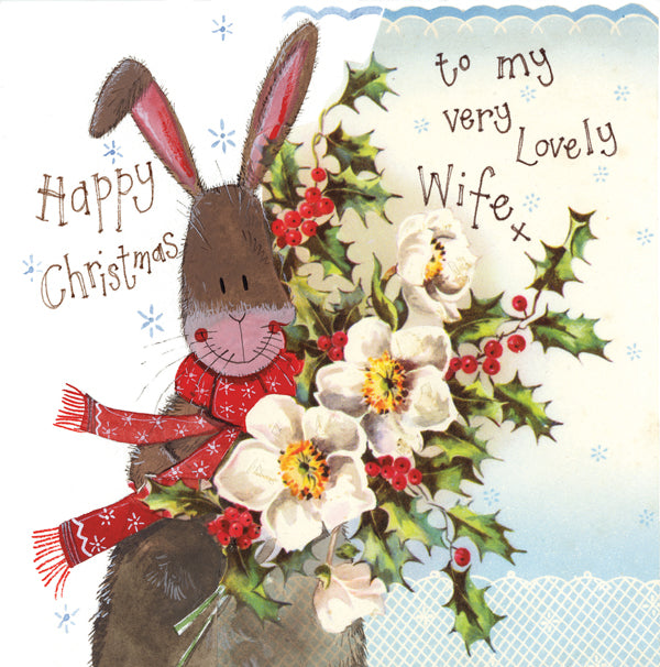 Alex Clark Lovely Wife Bunny Rabbit Christmas Card