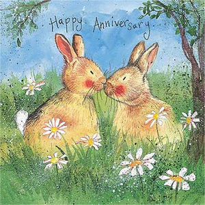 Alex Clark Anniversary Kissing Bunny Rabbit Card