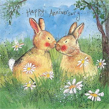Alex Clark Anniversary Bunny Rabbit Card