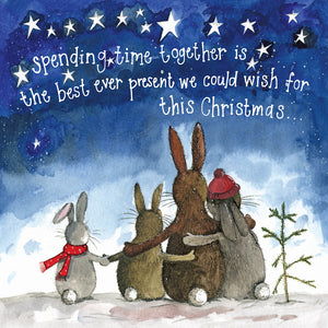 Alex Clark Together Bunny Rabbits Christmas Card