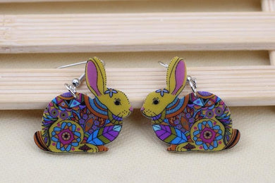 Aztec Colourful Acrylic Bunny Earrings