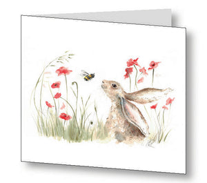 Bee Lovely Bunny Greetings Card With Beautiful Poem