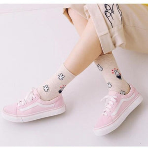 Ladies Bunny Rabbit Ankle Socks  - 2 colours