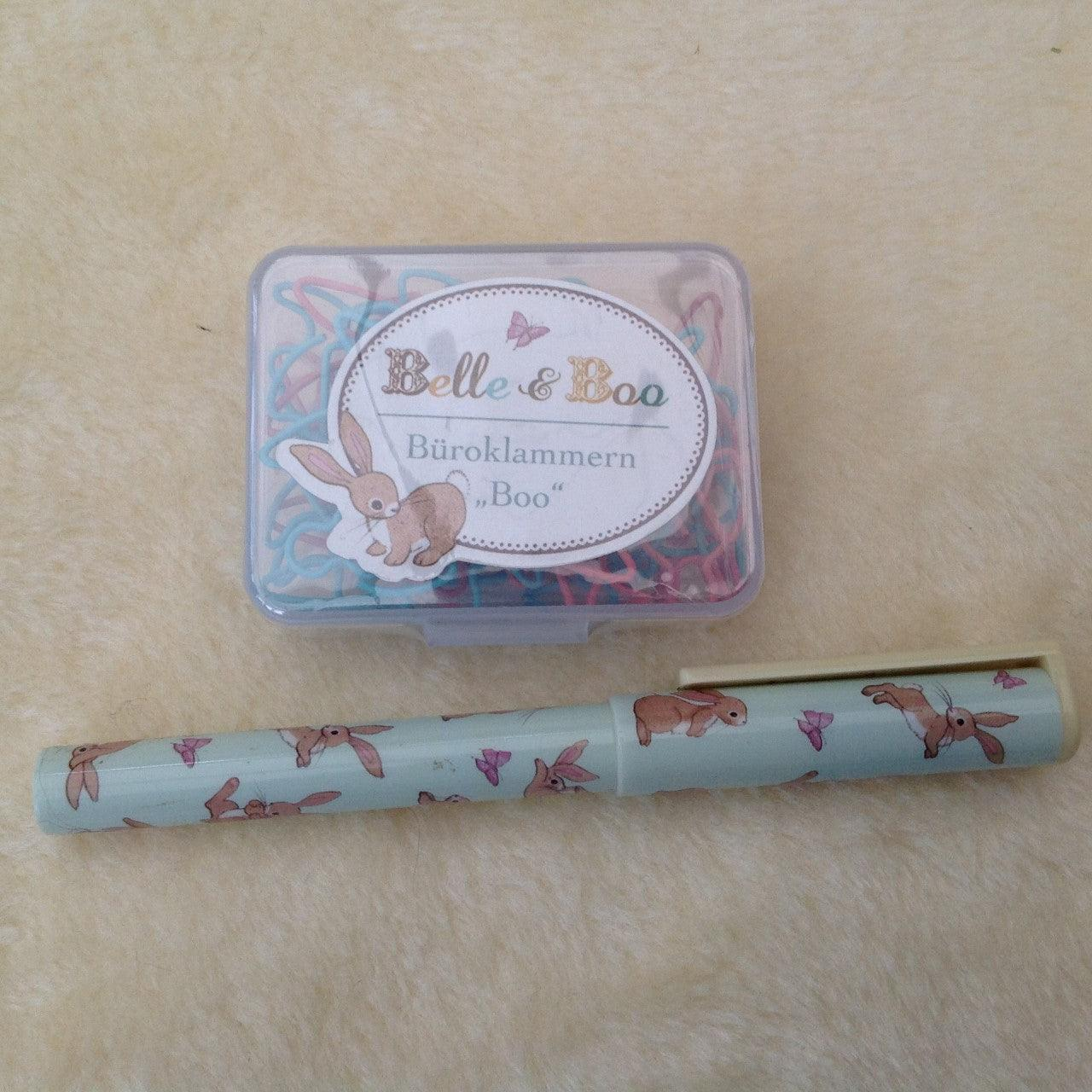 Belle & Boo Bunny Shaped Paper Clip Box & Pen