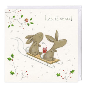 Let It Snow Bella Bunny Christmas Card
