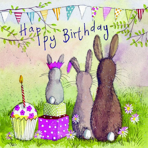 Alex Clark Family Bunny Rabbit Birthday Card