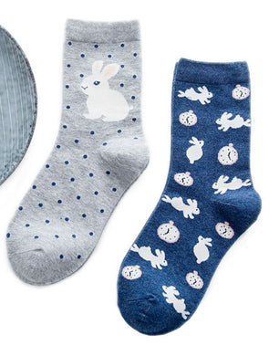 Set of 2 Blue/Grey Bunny Rabbit Socks