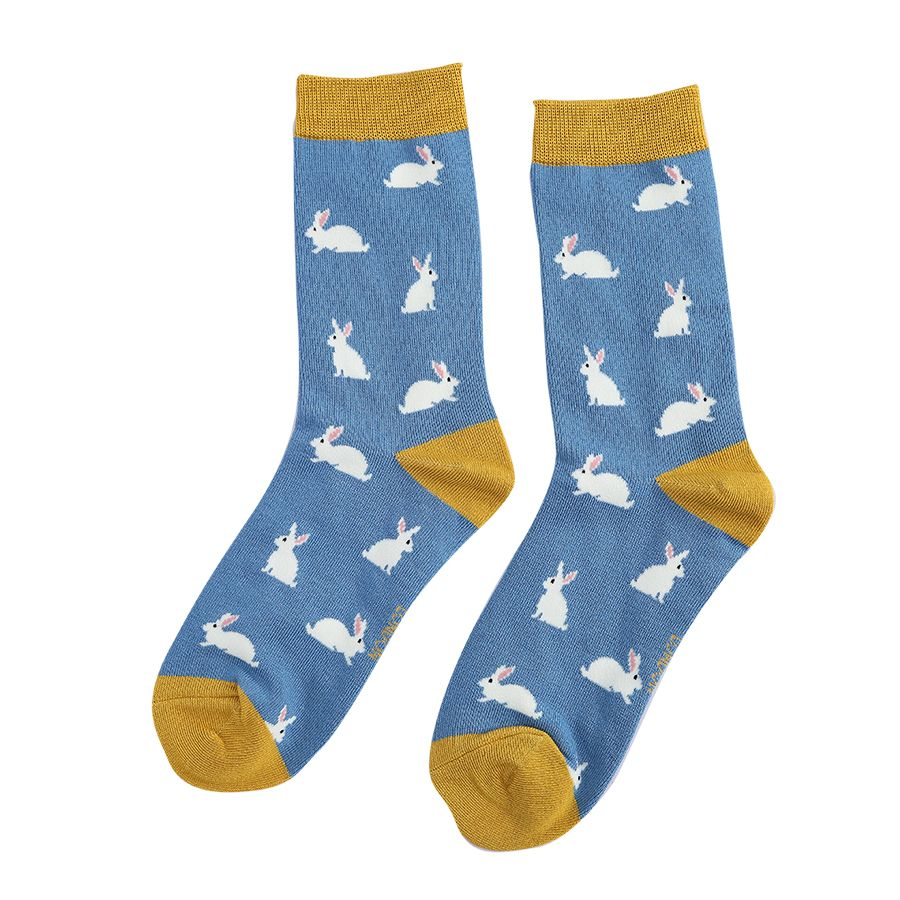 Luxury Bamboo Blue & Mustard Bunny Rabbits Socks