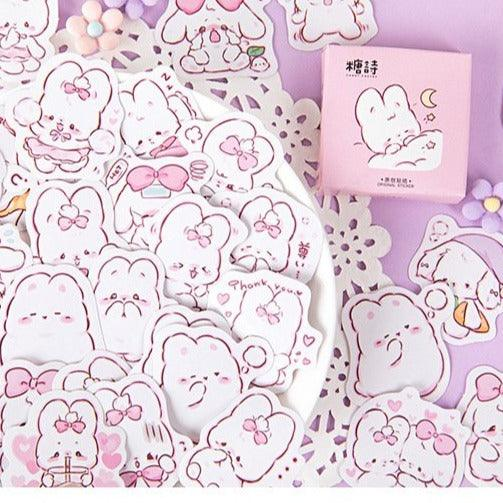 Little Box of Pink Bunny Rabbit Stickers