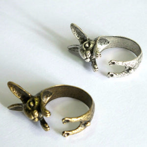 Adjustable Bunny Rabbit Chunky Ring - Two Colours