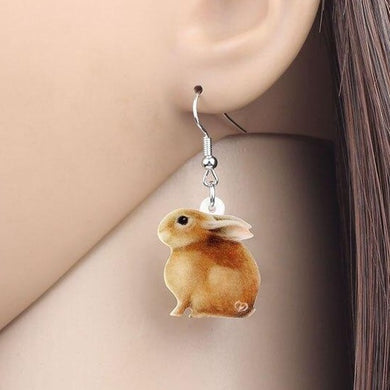 Brown Bunny Rabbit Acrylic Earrings