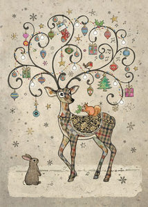 Bugart Decorated Deer and Bunny Christmas Card