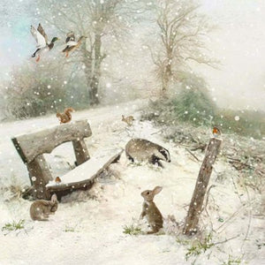 Bugart Winter Bench Bunny Christmas Card