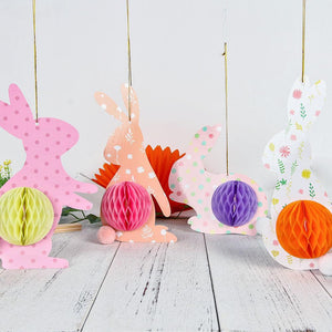 Bunny Rabbit Honeycomb Hanging Decorations-Set of 4