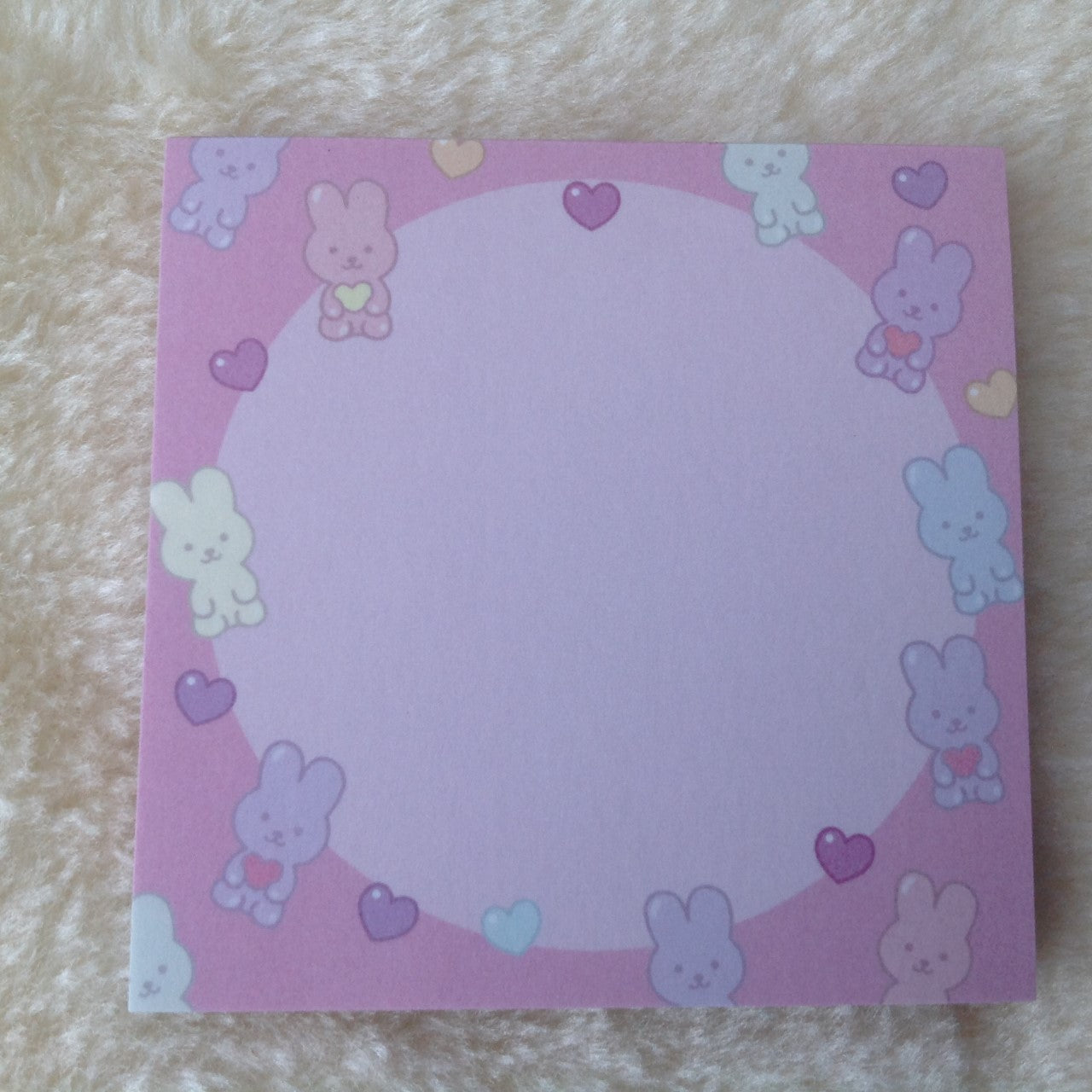 Bunny Rabbit Hearts Sticky Note Pad