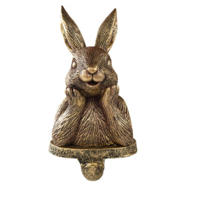 Gold Bunny Rabbit Stocking Holder Ornament