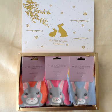 Luxury Ladies Bamboo Adorable Bunny Rabbits Sock Gift Box