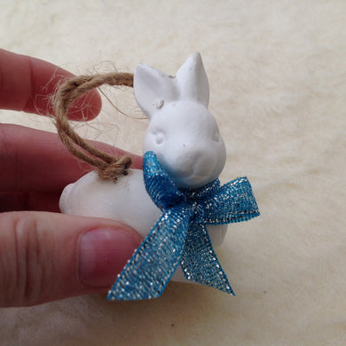 Ceramic White Bunny Christmas Tree Decoration