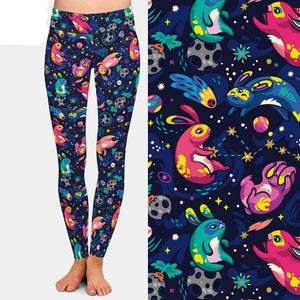 Ladies Cosmic Bunny Rabbit High Waisted Leggings