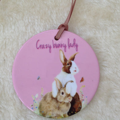 Crazy Bunny Lady Dutch Rabbit Ceramic Hanging Decoration