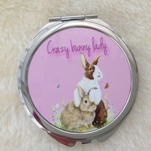 Crazy Bunny Lady Rabbit Mirror Compact