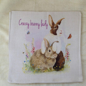 Crazy Bunny lady Dutch Rabbit Cushion Cover