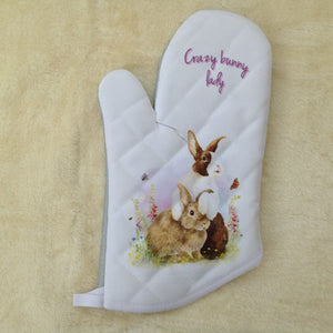Crazy Bunny lady Dutch Rabbit Oven Mitt