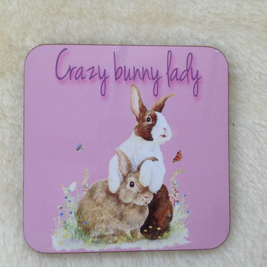 Crazy Bunny lady Dutch Rabbit Coaster
