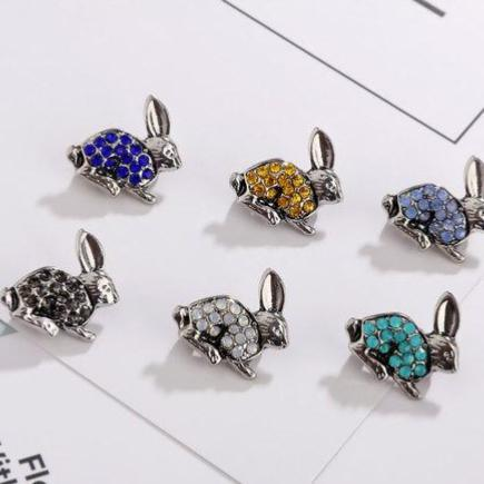 Crystal Bunny Rabbit Brooch/Pins - Set Of Six