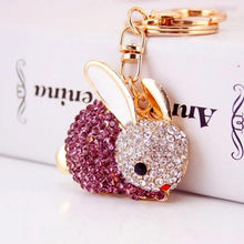 Pretty Crystal Bunny Rabbit Keyring - 3 Colours