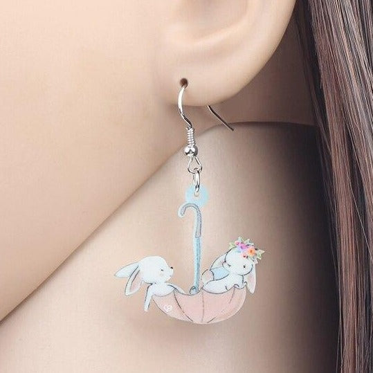 Cute Cartoon Bunny Rabbit Acrylic Earrings
