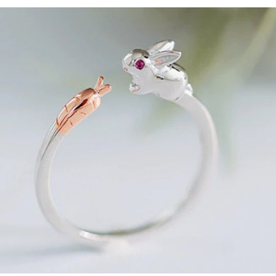 Adjustable Dainty Bunny Rabbit & Carrot Silver Ring