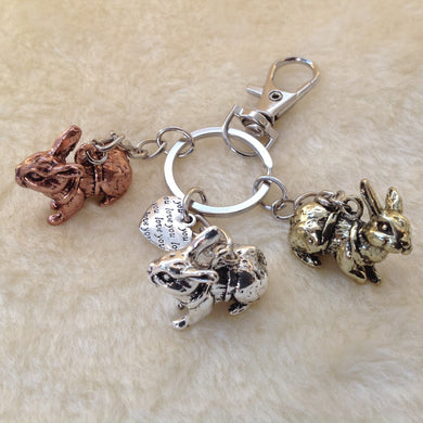 Three Rabbits Love Metal Keyring