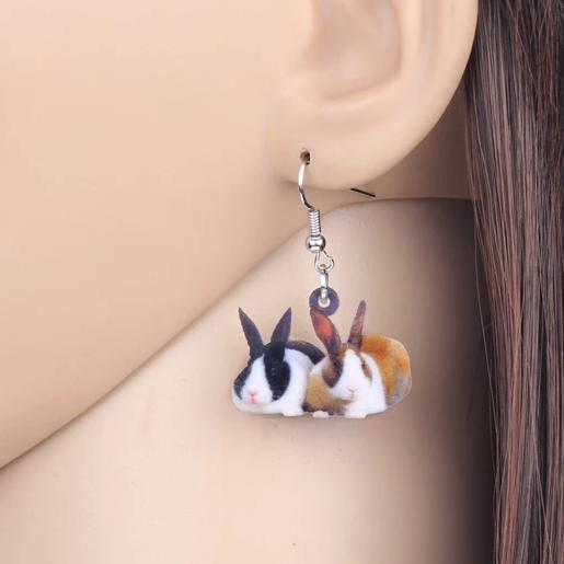Dutch Bunny Rabbit Acrylic Earrings