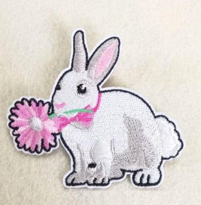 Iron On White Bunny & Flower Patch
