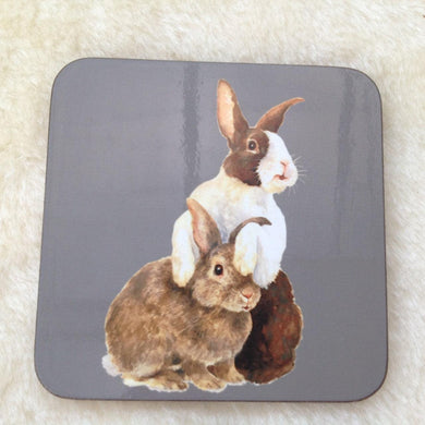 Grey Dutch Bunny Rabbit Coaster