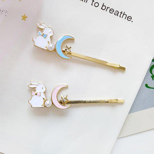 Pretty Enamel Bunny Rabbit & Moon Hair Slide