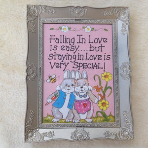 Falling In Love Is Easy Bunny Rabbits Picture Frame