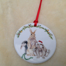 Field & Fur Ceramic Bunny Rabbit Christmas Tree Decorations - 2 designs