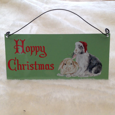 Hoppy Christmas Rabbit Metal Sign