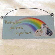 Rabbits Leave Paw Prints On Your Heart Metal Sign