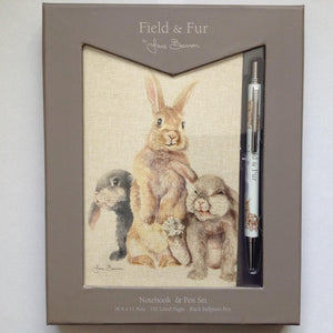 Field & Fur Bunny Rabbit Note book & Pen Gift Set