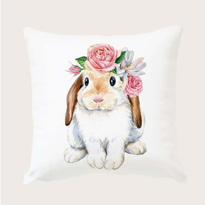 Soft touch Floral Lop Bunny Rabbit Cushion Cover
