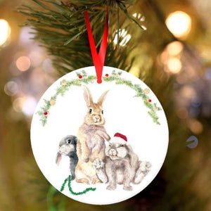 Ceramic Bunny Rabbit Christmas Tree Decorations - 2 designs